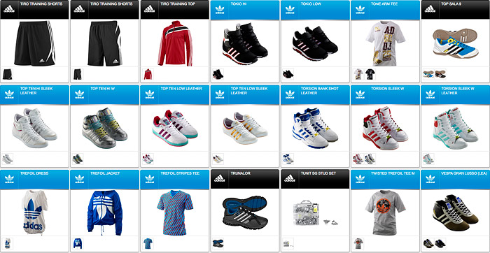 Скриншот каталога товаров Адидас 90b1e4b7931c2